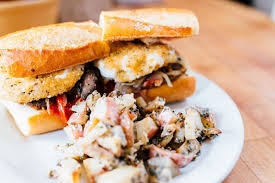 Fried Mozzarella Sandwich With Potato Salad At The Butchers Son Photo Icarianphotography