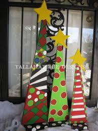 Set Of 3 Whimsical Christmas Trees Funky Painted TreePallet