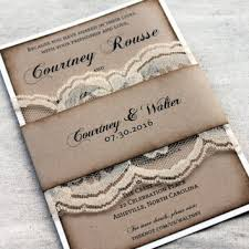 Ivory Lace Rustic Wedding Invitations Aged Invitation Set Burlap And