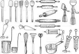 cuisine illustration des outils ustensile vecteur dessin gravure