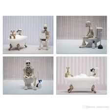 großhandel ungerahmt skelett bilder badezimmer drucke lustige schä und knochen das bild drucke auf leinwand wandkunst für badezimmer dekor
