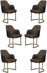 casa padrino luxus esszimmer stuhl set grau gold 70 x 95 x h 96 cm küchen stühle 6er set esszimmerstühle mit armlehnen luxus esszimmer möbel