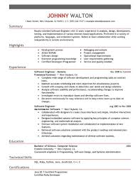 Sample Resume For Software Engineer With Experience