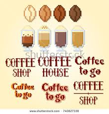 8 Bit Video Coffee Grounds Paint On Paper Icon Set Pixel Art Old School Computer Graphic Style