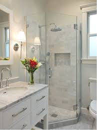 Small Transitional Gray Tile And Stone Marble Floor Corner Shower Idea In San Francisco With