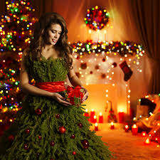 Wallpapers New Year Brown Haired Girls Christmas Tree Gifts Balls