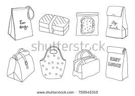 Various Lunch Boxes Lunch Bags Set Stock Vector Royalty Free
