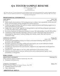 Testing Resume Sample Tester Samples Software