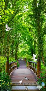 Wall Mural Decals Nature by 3d Forest Bridge Bird Corridor Entrance Wall Mural Decals Art