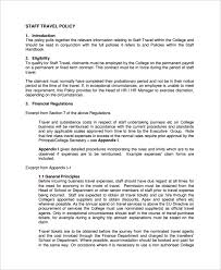 Business Travel Policy Template 7 Free Word Pdf Document Downloads