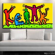 großhandel zz1619 moderne dekorative leinwand wand kunst drucke leinwand bilder keith haring ölkunst malerei für wohnzimmer schlafzimmer