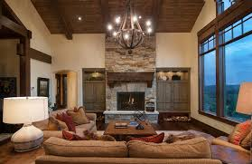 Stone Built Homes Living Room Rustic With Fireplace Dark Wood Floor