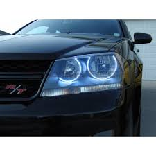 dodge avenger white led halo headlight kit 2008 2015
