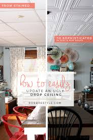 Do All Acoustic Ceiling Tiles Have Asbestos by How To Easily Update An Ugly Drop Ceiling Ceilings Basements