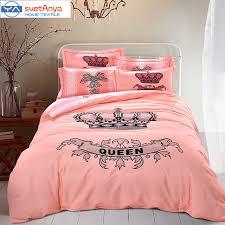 Svetanya noble queen crown print pink bedding set thick soft