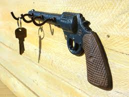 pistol key holder gun key hook cast iron key hooks key