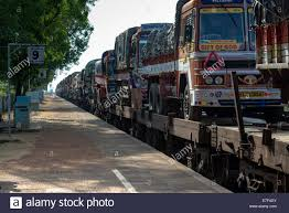 100 Trains Vs Trucks Transported On Train Gokarna Karnataka India Stock Photo