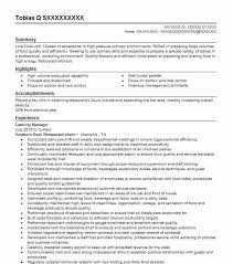 Catering Manager Resume Sample