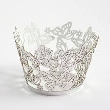 Silver Metallic Butterfly Cupcake Wrappers 561 P