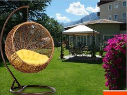 Guangyi Rattan Hanging Chair Swing Outdoor Wicker Happy Hammock Rocking Courtyard Round Bed