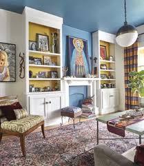 75 mediterrane wohnzimmer mit blauer wandfarbe ideen