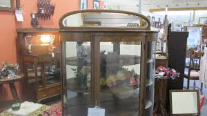 Curved Glass Curio Cabinet by Antiques Art Vintage