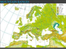 mountain ranges of europe europe physical map