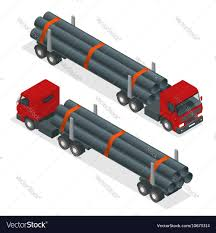 100 Truck Tractor Isometric Tractor With Flatbed Trailer Vector Image