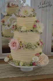 Jackie Nearly Naked Wedding Cake With Rustic Buttercream And Fresh Flowers