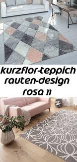 kurzflor teppich rauten design rosa 11 contemporary rug