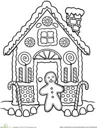 First Grade Holidays Seasons Worksheets Gingerbread House Coloring
