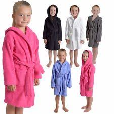 Kids Childrens 100 Cotton Bathrobe Terry Towelling Hooded Bath Robe Gown 7
