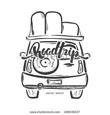 Vector Illustration Hand Drawn Emblem With Travel Car And Handwritten Lettering Of Road Trip