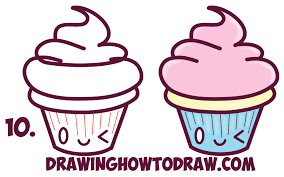 Learn How to Draw Cute Kawaii Cupcakes with Face on It Simple Steps Drawing Lesson