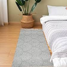 shacos teppich läufer flur waschbar grau baumwollteppich retro teppich mandala baumwolle handgewebte vintage teppiche mit quasten für küche