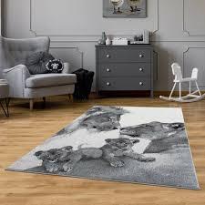 löwen teppich grau jugendteppich wohnzimmer teppich modern