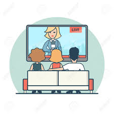 Linear Flat People Watching News On TV Vector Illustration Live Airing Media Concept