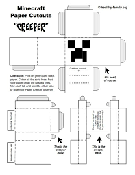 Make A Creeper Minecraft Paper Crafts Template From Healthy Family