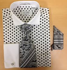 men u0027s fashion polka dot pattern cufflink dress shirt set white