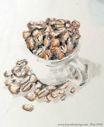 Colour Pencil Drawing Of Cup With Coffee Beans