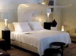 Unique Headboard Close Double Bed In Simple Bedroom Decorating Ideas With Calm Lamplight