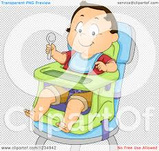 Clipart Of A Caucasian Baby Boy Ready To Eat In A High Chair ...
