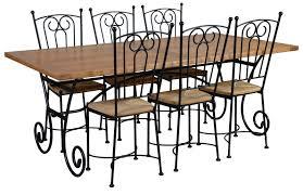 table rectangulaire chêne et fer forgé 6 chaises bayonne
