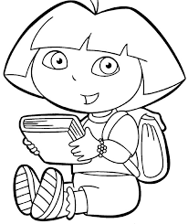Hello Kitty Reading Book Coloring Page