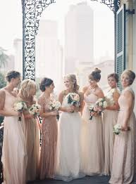 Mismatched Bridesmaid Dresses In Shades Of Pink And Neutral
