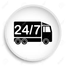 24 7 Delivery Truck Icon. 24 7 Delivery Truck Website Button.. Stock ... Vector Delivery Truck Icon Isolated On White Background Royalty Stock Art More Images Of Adhesive Truck Icon Flat Free Image Designs Mein Mousepad Design Selbst Designen Style Illustration Delivery Image Clock Offering Getty 24 7 Website Button