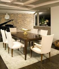 Accent Wallpaper Dining Room Full Image White Fabric Sofa Vintage Wooden Table