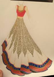 Indian Dress Sketching By Pencil Wedding Design Sketches Great Drawing