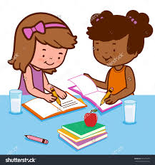 Two Students Working To her Clipart ClipartXtras