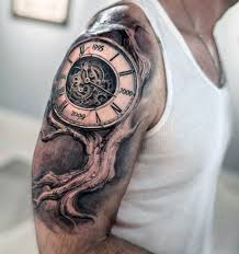 Realistic 3d Family Tree With Clock Mens Upper Arm Tattoo